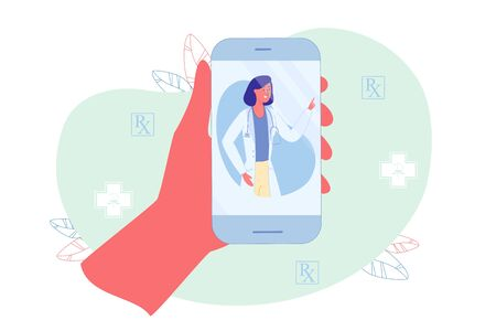 Get Therapists Advice through Phone Application. Patient Holding Smartphone in Hand and Talking Online with Doctor. Woman with Stethoscope on Neck Explains to Patient what Need to be Done to Recover.
