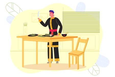 Man Preparing Sushi in Asian Restaurant, Banner. On Table on Rug for Preparation Lies Swirling Roll. Master is Preparing to Cut it into Sushi and Put it on Plate with Greens, in Small Bowl is Rice.