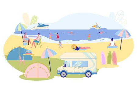 Variety Fun for Families in Summer on Water, Slide. There are Tents and Mobile Furnishings on Coast. People Sit at Table and Socialize. Women Sunbathe and Meditate. Water People Swim and Ride Boats.
