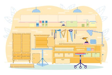 Woodwork or Furniture Workshop Interior Flat Cartoon Vector Illustration. Drilling Machine, Lamp, Material on Table. Making Cupboards, Shelves with Equipment or Tools. Ruler, Saw, Hammer on Wall.