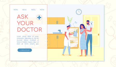 Lady Doctor in Her Office, Inviting Young Couple to Come in. Husband and Wife Visiting General Practitioner in Local Outpatient Clinic to Get Test Results. Landing Page with Copy Space for Extra Text.