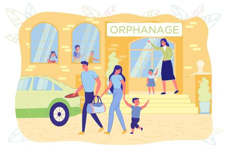 Happy Parents Adopting Little Boy Child from Orphanage. New Adoptive Father and Mother Holding Preschooler Son. Custody, Caregivers, Cheerful Kid. Children Orphan Home Yard. Vector Illustration
