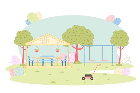 Comfortable Wood Gazebo and Playground on Lawn Design. Table with Chair under Wooden Fence Roof, Pair of Swing, Grass-Cutter. Park Garden Natural Landscape. Building Location. Vector Illustration
