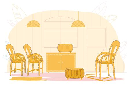 Wicker Furniture Workshop Flat Cartoon Vector Illustration. Room Interior with Hand Made Objects such as Chairs, Coffee Table, Cupboard, Lamps Created from Straw. Basketry Craft, Hobby.
