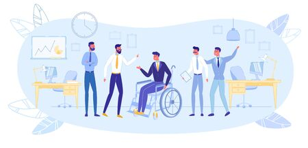 Healthy and Disabled People Working Together in Business Team. Cheerful Invalid Person on Wheelchair among Colleagues and Friends at Office Interior Background. Flat Cartoon Vector Illustration.