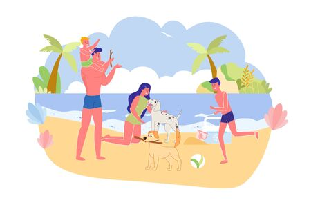 Big Family with Favorite Pets on City Beach Banner. Mom is on her knees and Stroked one Dog. Father with Sons Plays Wand with another Animal. Next to Sand Lie Kindergarten Bucket and Refrigerator Bag.