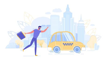 Young Man with Suitcase Running to Get Taxi Car. Illustration