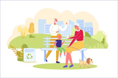 Walk in Park with Grandparents and Little Dog. Illustration