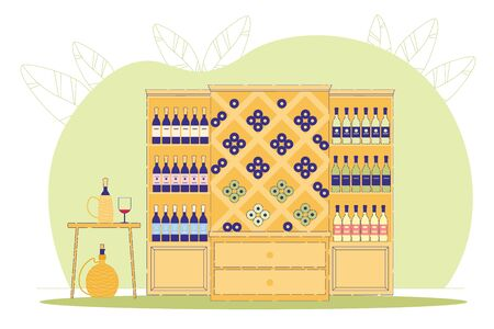 Wine Shop or Store Flat Cartoon Vector Illustration. Winery Selling. Alcohol Drink in Cupboard in Basement. Traditional Cover for Bottle and Glasse with Red Beverage. Original Taste.