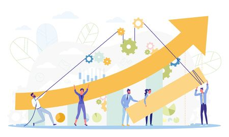 Growing Business Concept Flat Cartoon Vector Illustration. People Holding Arrow Pulling Ropes to Raise Company Success. Earn Money. Small Woman and Man Working on Charts. Mechanism with Gears.