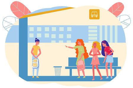 Bullying Lonely Girl at School Bus Stop, Cartoon. Well-dressed Teenage Girls Laugh at Student from their School Look. They Discuss it and Point Finger at Her. Outcast Discompose and Confused. Illustration