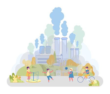 Near Playground Factory Emitting Waste into Air. Children have Fun on Special Playground in Park. Parents Put on Masks to Ensure their Children Health. In Background Large Factory Polluting City Air.