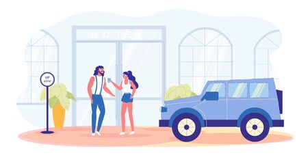 Hotel Front Door. VIP Zone. Celebrity Couple. Young Stylish Bearded Brunet with Tattoos and His Starry Girlfriend, Wearing Sunglasses Both, Discussing Latest Social Media News, Waiting for Their Car.