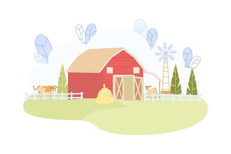Animal Farm with Red Barn and Windmill Vector Illustration. Cow Calf in Corral Eat Hay. Cattle Graze Green Grass. Alternative Wind Electric Energy. Meat Livestock Farming. Dairy Milk Product Business