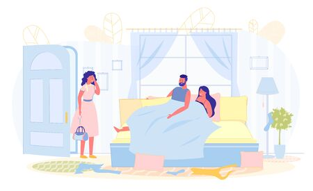 Love Triangle, Wife Catches Husband with Another. Man Lies in Bed with Woman, his Wife Stands in Doorway, Holding his Head. Family Tragedy, Betrayal Life Partner. Vector Illustration. Illustration