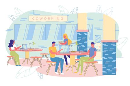 Freelancer Team at Coworking Shared Workplace Area. Man and Woman People Working at Computer, Sitting at Table and Talking, Carrying Folder with Document. Open Workspace. Vector Illustration