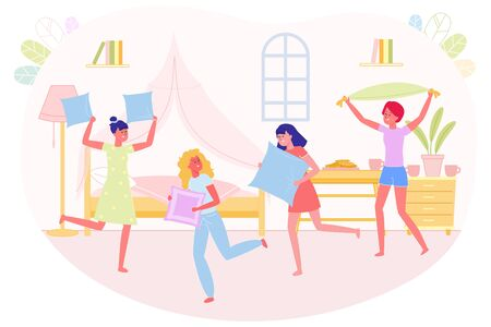 Best Friends Company at Night Home Funny Party. Girls Staged Fight with Soft Pillows at Friends Night. They have Fun in Pajamas in Bedroom. On Table Cookies and Cups with Hot Drinks.