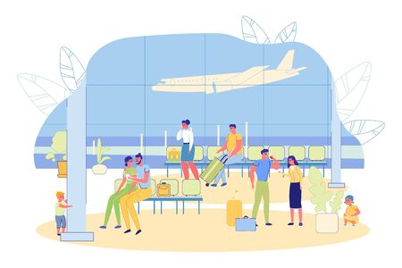 Terminal Waiting Hall with Big Window and View on Airfield. People, Men and Women Cartoon Characters with Luggage in Airport Arrival Room or Departure Lounge with Chairs. Flat Vector Illustration. Vettoriali