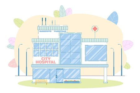City Hospital Building. Medical Institution Facade Construction. Cartoon Healthcare Architectural Location. Place Offering Urgency Emergency Service. Clinic Exterior. Vector Cityscape Illustration