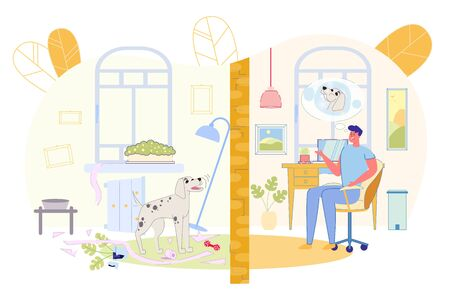 Banner Guy wants Neighbor Dog to Shut Up, Cartoon. In one Room Dog Barks Loudly, in another Room he Cannot Work at Computer and is Angry, Imagining this Dog in Bubble above his Head.
