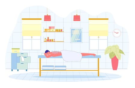 Massage with Cans for better Blood Circulation. Girl Lies on Couch, she Half Covered with Towel. Small Round Glass Vessels on Skin Back. Shelves with other Cosmetics on Walls for Procedures.