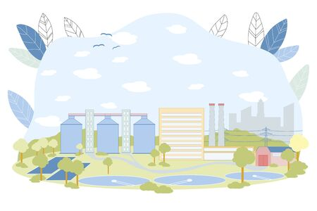 Treatment Facilities Vector Illustration. Waste Water Cleaning Facility with Round Reservoir Pool. Sewage Treatment Cleaning Construction. Sedimentation Primary Process. Wastewater Recycle