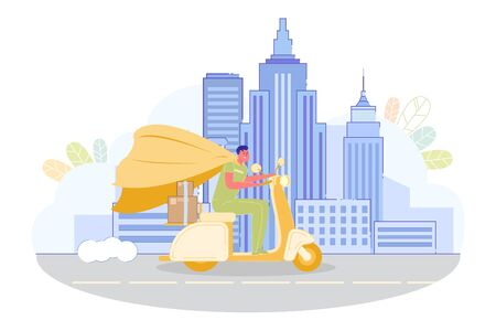 Riding on Scooter with Boxes on Trunk in City Background Flat Cartoon Vector Illustration. Fst Delivery Service. Parcel or Purchase Shipment. Man Worker Hurrying to Customer.
