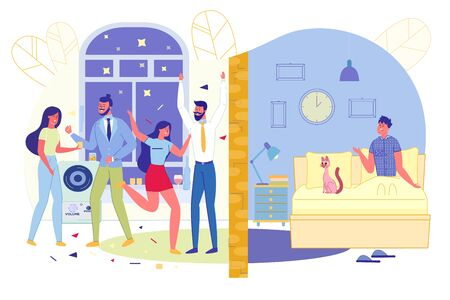 Party in Apartment Disturbs Neighbors, Slide. Two Apartments Separated by Wall. In One Party Guests Music, in another Person in Bed Sits Dumbfounded - Late at Night on Clock, Cartoon. Vector Illustration