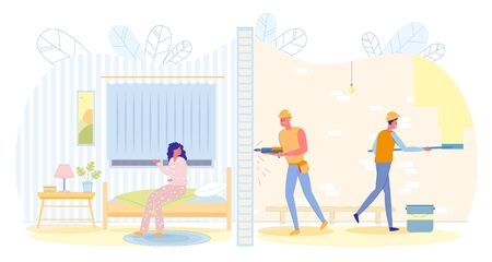 Neighbors make Repairs, Inconvenience and Noise. Rooms in Section in one they make Repairs, Man Drills Wall, in another - Man is Angry at Noise and Cannot Work or Fall Asleep, Slide.  イラスト・ベクター素材