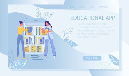 Educational Application with E-Library Archive. Online Education Program. Landing Page Design with Woman Searching Book for Study. E-Reader App. Media Content Storing for Learn. Vector Illustration