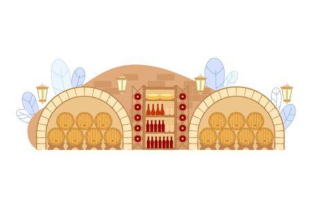 Weinkeller mit Holzfässern und Weinflaschen auf Regal-Vektor-Illustration. Restaurant-Keller-Interieur mit Eichenholz-Fass. Italienischer Weinbau. Alkoholalterung in Lagerhallen