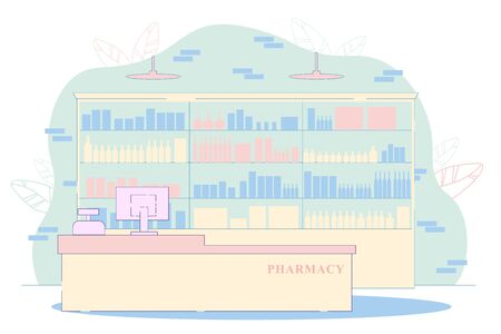 Modern Pharmacy Interior Vector Illustration. Empty Drugstore Room. Medicine Pill Bottle Vitamin on Shelves. Counter with Cash Machine. Medication Retail Business. Medicine Treatment