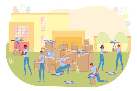 People Workers near House Standing and Sending out Quadrocopters with Boxes Flat Cartoon Vector Illustration. Men and Women Tying Parcels or Purchases to Flying Mechanism. Fast Delivery.