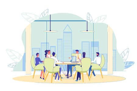 Business Briefing Teamwork at Conference Meeting Room. People Sitting at Round Table Brainstorming, Discussing Project, Planning Marketing Strategy. Team Work Process. Vector Illustration