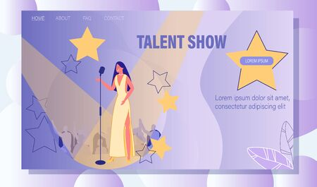 Talent TV Show and Grant Concert. Beautiful Young Woman Wearing Long Dress Singing Song in Microphone. Winner Vocal Singer Performing on Stage. Landing Page in Star Design. Vector Illustration