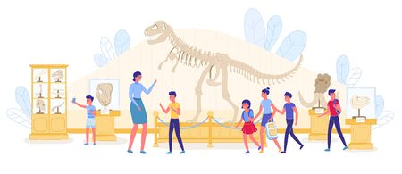 Kid Educational Guide Excursion at Paleontology Natural History Museum. Boy Girl School Pupil Visiting Exhibition with Prehistoric Predator Skeleton, Skull. Archeology for Student. Vector Illustration