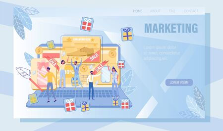 Contextual PPC Advertising Online Promotion Service. Landing Page Design with Gift, Sale and Discount Offer on Huge Laptop Screen for Interested User Group Click on Ad Bots. Vector Illustration