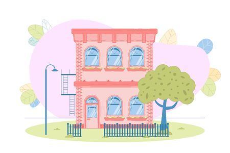 Flat Cozy Two-Story Condominium Detached Building. Comfort Construction Design for Several Habitants. Contemporary Countryside Architecture. House Facade Exterior. Vector Illustration  イラスト・ベクター素材