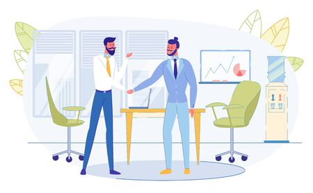 Business Meeting in Office. Businesspeople Characters Shaking Hands in Front of Board with Graphs and Charts. Leaders of Companies Friendly Conversation, Collaboration Cartoon Flat Vector Illustration