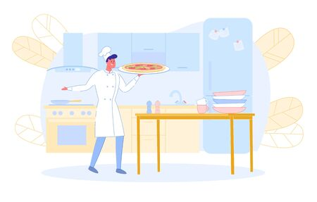 Young Man Chef in Toque and Apron Holding Pizza in Hands on Kitchen Background with Furniture. Professional Staff Cooking in Restaurant, Pizzeria or Bakery Shop. Cartoon Flat Vector Illustration.