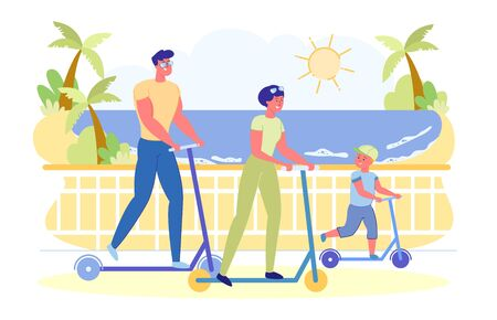 Happy Family Outdoors Fun and Sport Activity and Healthy Lifestyle. Father, Mother and Kid Riding Scooters in Park Riding along Beach. Dad, Son Mom Using Eco Transport Cartoon Flat Vector Illustration  イラスト・ベクター素材
