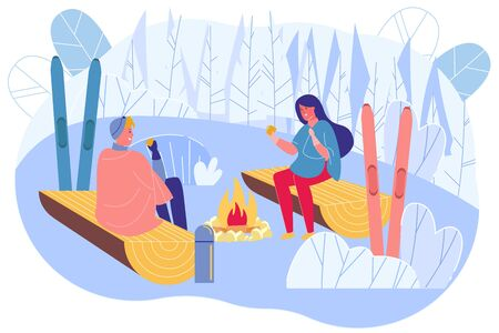 Couple Sitting near Campfire in Winter Day Flat Cartoon Vector Illustration. Man and Woman Sitting on Logs in Warm Clothes under Blankets in Mountains. Snowy Nature. Skiing Resort.  イラスト・ベクター素材