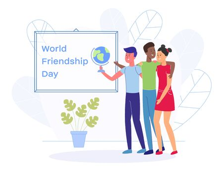 Group of Friends Asian Girl, Caucasian and African Boys Standing Together and Hugging. Young Male Person Holding Globe in Hand. Team Greeting World Friendship Day Modern Flat Vector Banner or Poster