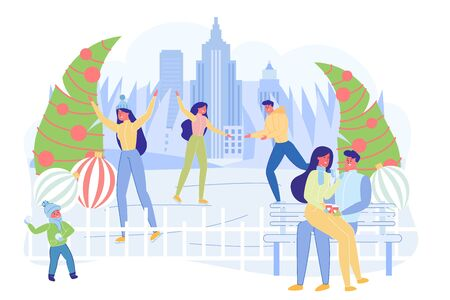 People Having Rest in Park Flat Cartoon Vector Illustration. Couple in Love Sitting on Bench with Takeaway Coffee. People Ice Skating on Rink. Boy Throwing Snowball. Christmas or New Year Decoration.