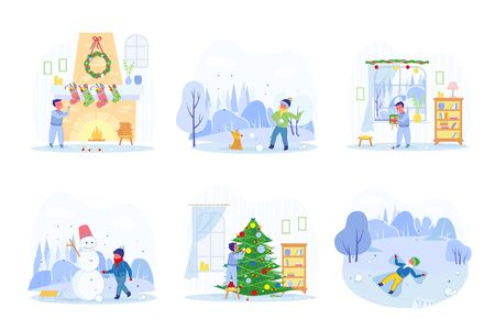 Christmas Vacation Fun and Joy with Child Cartoon Character Performing Diverse Indoor and Outdoor Activity. Wintertime or Xmas Holidays Leisure and Recreation. Flat vector Illustrations Set Isolated.
