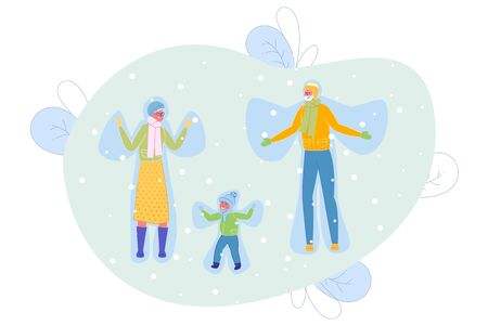 Grandparents and Grandson Making Angels in Snow Flat Cartoon Vector Illustration. Grandmother and Grandfather with Child Wearing Warm Clothes such as Scarf and Hat. Falling Snow. Winter Time.  イラスト・ベクター素材
