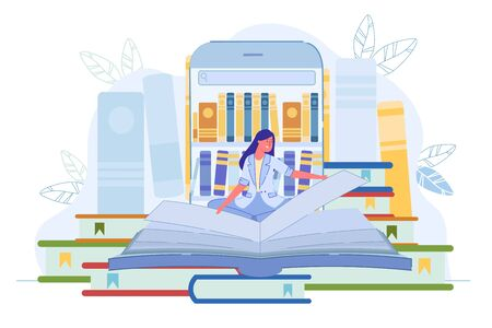 Library Application for Reading Book Online via Phone. Young Woman Reader Turn Huge Textbook Page Sitting over Big Smartphone with Bookshelf on Screen. E-Book and E-Learn. Vector Illustration 写真素材