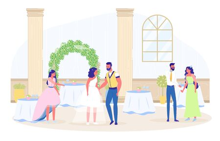 Wedding Party Celebration in Restaurant with Guest. Many Served Table, Flower Decoration, Bridal Plant Arch. Newlyweds and Friend. Banquet Event Hall Interior. People Dancing. Vector Illustration