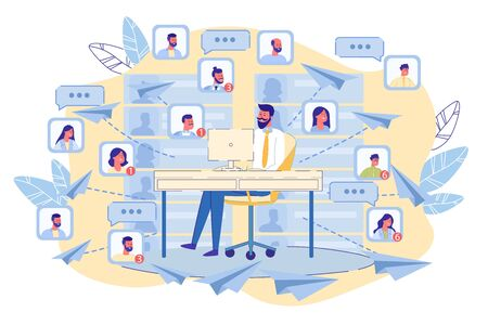 Mailing Marketing and E-Mailing Notification Service. Digital Promotion, Advertising Campaign. Man Sit at Laptop Send Mail in Paper Plane Shape. People Avatar Social Network Icon. Vector Illustration 写真素材
