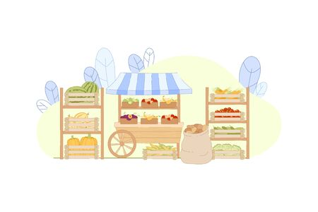 Fresh Farm Product Assortment in Boxes on Stall Vector Illustration. Healthy Local Food Agriculture Market. Sell Vegetable Potato Tomato Pumpkin. Buy Fruit Apple Pear Plum Watermelon